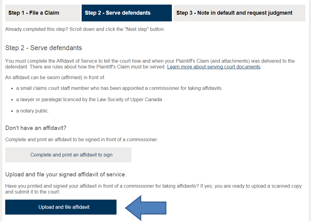 Small Claims Court E-filing Service User Guide - Ministry of the