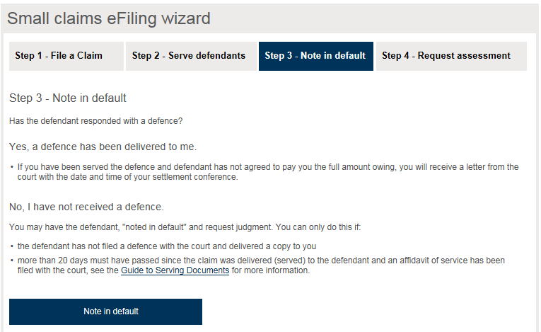 Small claims court e filing service user guide ministry of the image showing details about noting a defendant in default spiritdancerdesigns Gallery
